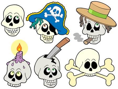 Various skulls collection - vector illustration. Vector