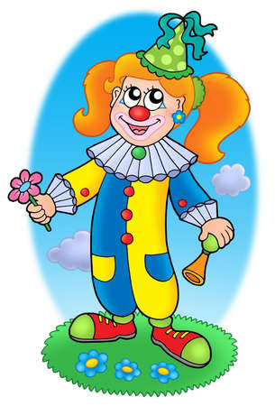 painted face: Cartoon clown girl on meadow - color illustration.