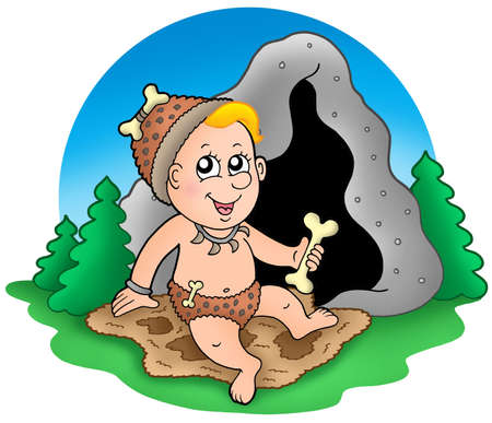 Cartoon prehistoric baby before cave - color illustration. illustration
