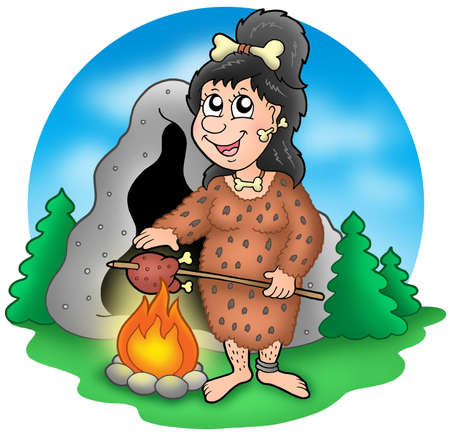 prehistory: Cartoon prehistoric woman before cave - color illustration.
