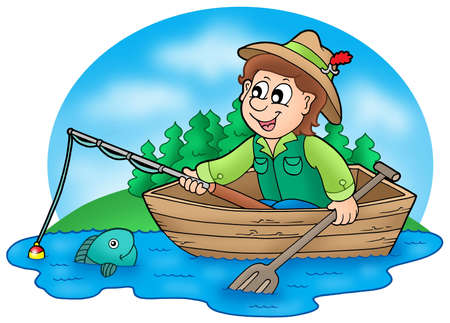 swimming cap: Fisherman in boat with trees - color illustration. Stock Photo