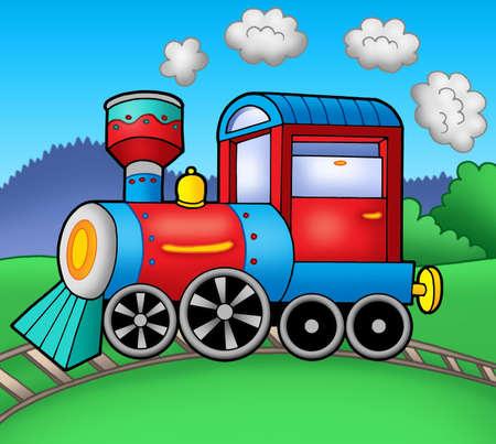 tren caricatura: Locomotora a vapor sobre raíles - color ilustración. Foto de archivo