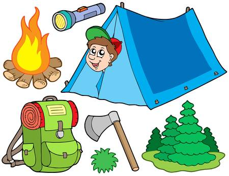 Camping collection sur fond blanc - illustration vectorielle.