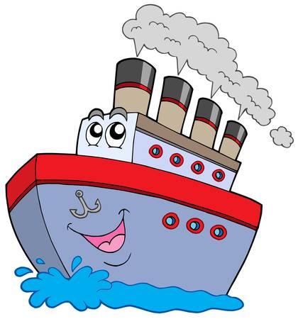 Cartoon boat on white background - vector illustration.