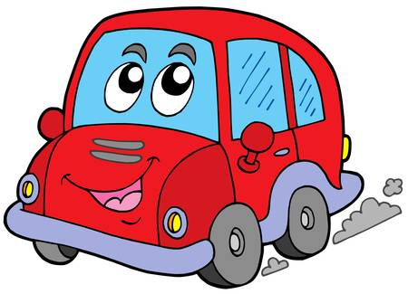 Cartoon car on white background - vector illustration.