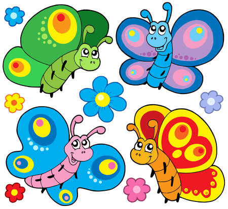 Cute butterflies collection - vector illustration.