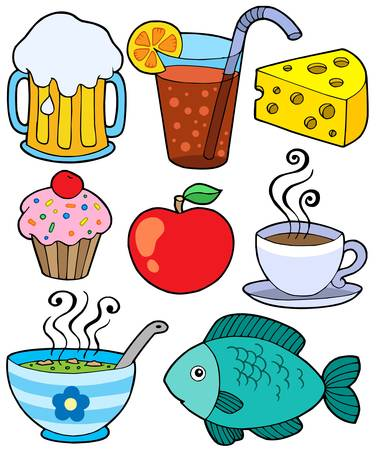 Food and drink collection 1 - vector illustration. Stock Vector - 4574127