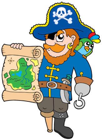 filibuster: Pirata con tesoro mappa - illustrazione vettoriale. Vettoriali