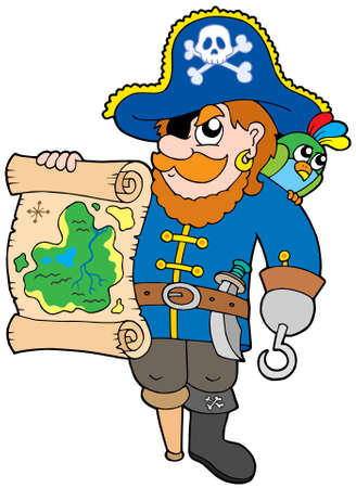 sabre: Pirate with treasure map - vector illustration.