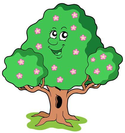 Spring tree in bloom - vector illustration.