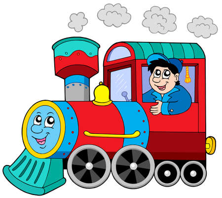 tren caricatura: Locomotora a vapor con el motor conductor - ilustración vectorial.