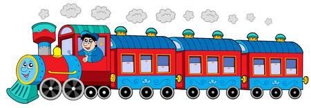 Locomotora a vapor con el motor conductor y vagones - ilustración vectorial.