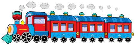 tren caricatura: Locomotora a vapor con vagones - ilustración vectorial. Vectores