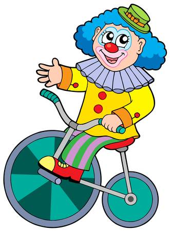 stage costume: Cartoon clown riding bicycle - vector illustration. Illustration