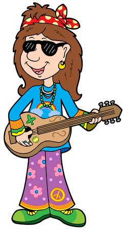 Cartoon hippie musician - vector illustration. Stock Vector - 4574118