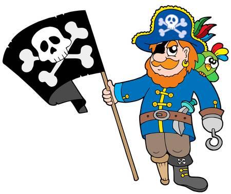 filibuster: Pirata con bandiera - illustrazione vettoriale. Vettoriali