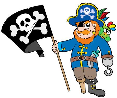 Pirate with flag - vector illustration. Stock Vector - 4574131