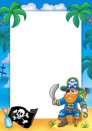 parrots: Frame with pirate 1 - color illustration. Stock Photo