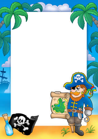 Frame with pirate 2 - color illustration. illustration