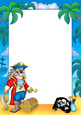 Frame with pirate 3 - color illustration. illustration