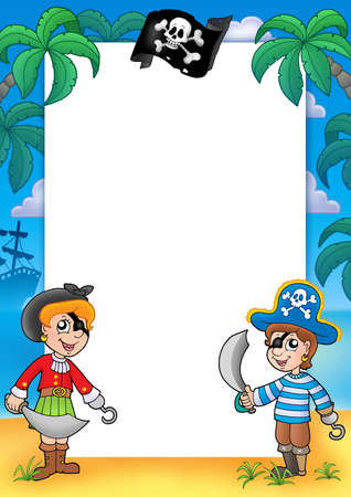 pirate hat: Frame with pirate boy and girl - color illustration.