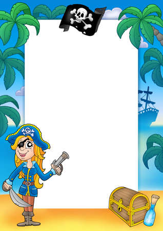 Frame with pirate woman 2 - color illustration. illustration
