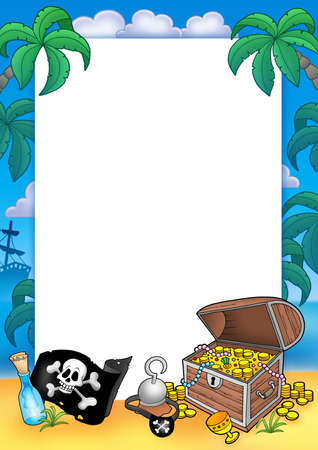 eyepatch: Frame with treasure chest - color illustration. Stock Photo