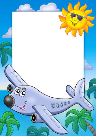 aeroplane cartoon: Frame with Sun and airplane - color illustration.
