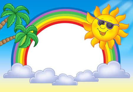 Frame with Sun and rainbow - color illustration.
