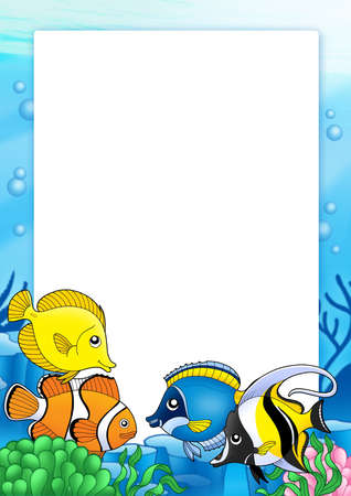 aquatic plants: Frame with tropical fishes 1 - color illustration. Stock Photo