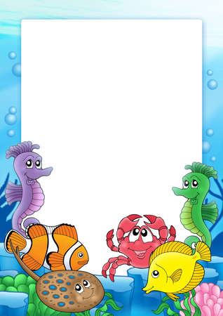 aquatic plants: Frame with tropical fishes 2 - color illustration. Stock Photo