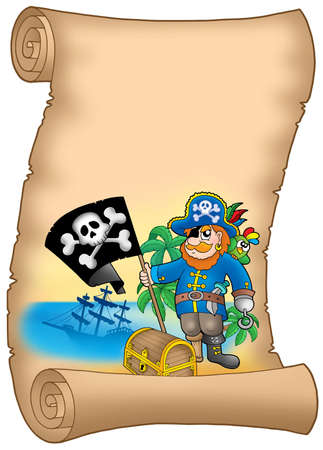 Parchment with pirate holding flag - color illustration. illustration