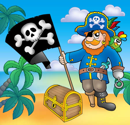 male chest: Pirate with flag on beach - color illustration. Stock Photo