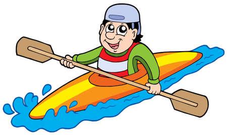Cartoon kayaker su sfondo bianco - illustrazione vettoriale.