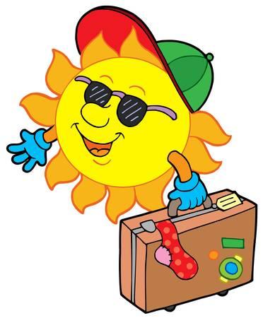 sunglasses recreation: Cartoon sun traveller - vector illustration.