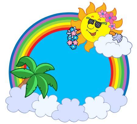 Hawaiian rainbow circle - vector illustration. Vector