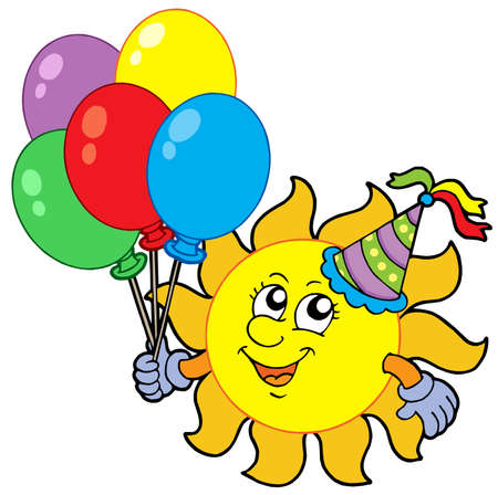 Party sun with balloons - vector illustration.