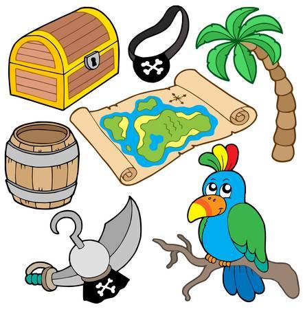 Pirate collection 7 sur fond blanc - illustration vectorielle. Banque d'images - 4609730