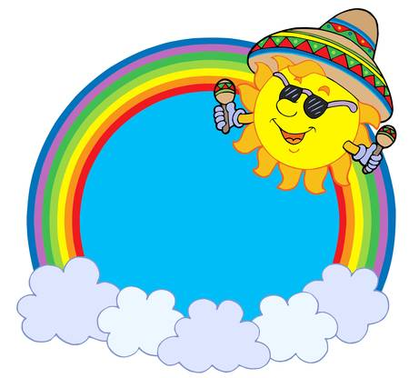 sombrero: Rainbow circle with Mexican sun - vector illustration.