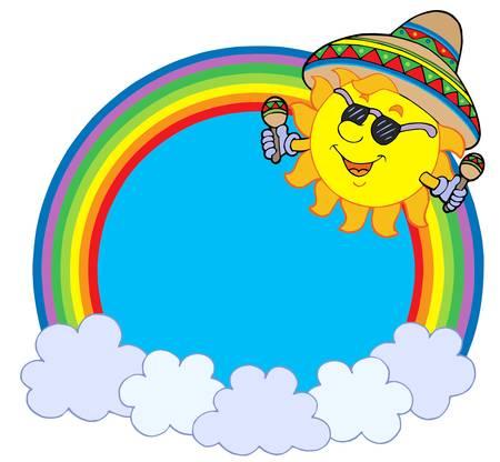 Rainbow circle with Mexican sun - vector illustration. Vector