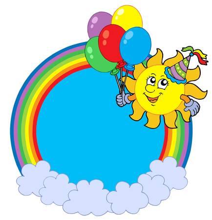 Rainbow circle with party sun - vector illustration. Vector