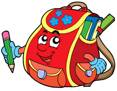 Red school bag - vector illustration.