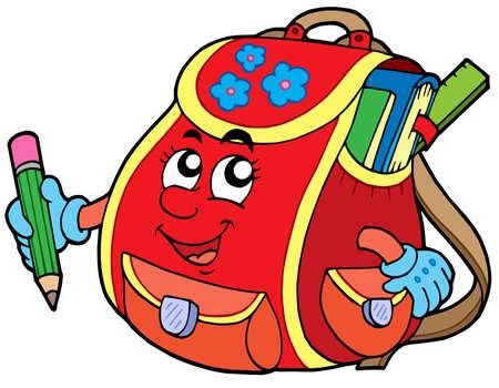 Red school bag - vector illustration.