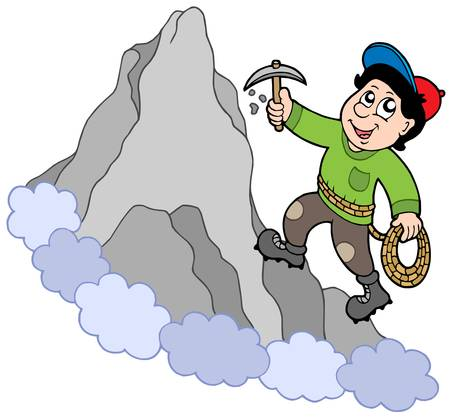 climbing mountain: Rock climber on mountain - vector illustration.