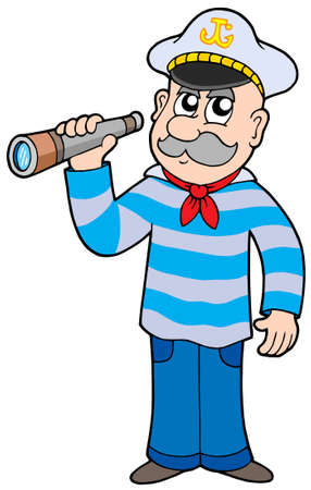 sailor hat: Sailor with spyglass - vector illustration.