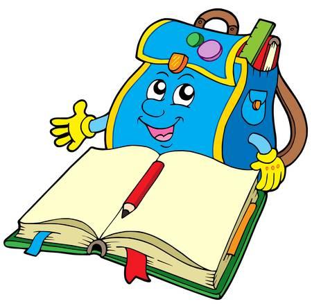 primary: School bag reading book - vector illustration.
