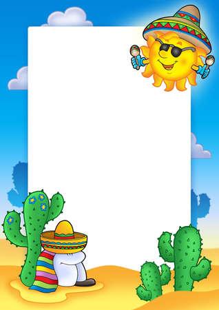 sombrero de charro: Marco con el sol de M�xico - color ilustraci�n.