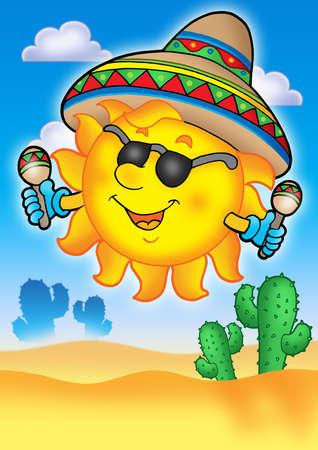 caricatura mexicana: Sol mexicano sobre cielo azul - el color ilustraci�n.