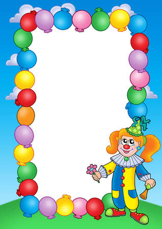 Party invitation frame with clown 1 - color illustration. illustration