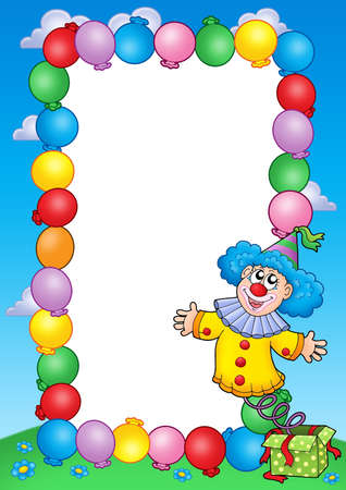Party invitation frame with clown 3 - color illustration. illustration